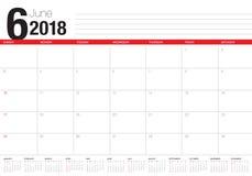 June 2018 calendar planner vector illustration Stock Photo