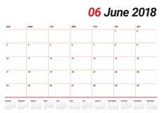 June 2018 calendar planner vector illustration Stock Image