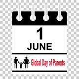 1 june Calendar sheet Global day of parents. Vector illustration royalty free illustration