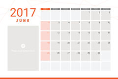 June 2017 calendar. With space for picture Royalty Free Stock Photo