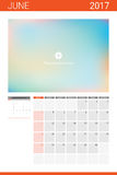 June 2017 calendar with space for picture Royalty Free Stock Photography