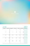 June 2017 calendar. With space for your picture Royalty Free Stock Photography