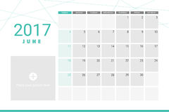 June 2017 calendar. With space for your pictures Stock Photo