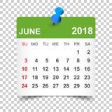 June 2018 calendar. Calendar sticker design template. Week start. S on Sunday. Business vector illustration Stock Images