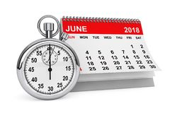 June 2018 calendar with stopwatch. 3d rendering. 2018 year calendar. June calendar with stopwatch on a white background. 3d rendering Royalty Free Stock Images