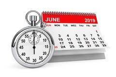 June 2019 calendar with stopwatch. 3d rendering. 2019 year calendar. June calendar with stopwatch on a white background. 3d rendering stock illustration