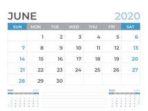 June 2020 Calendar template, Desk calendar layout  Size 8 x 6 inch, planner design, week starts on sunday, stationery design. Vector Eps10 vector illustration