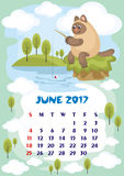 June 2017 calendar. Wall calendar for  June,2017 with an amusing cat. Fun children`s illustration in cartoon style. Colorful background. Vertical orientation Stock Photos