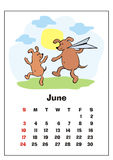June 2018 calendar. Wall calendar for  june, 2018 with funny dogs. Fun children`s illustration in cartoon style. Colorful vector background. Vertical orientation Royalty Free Stock Photo
