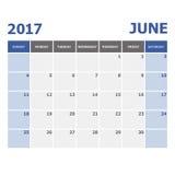 2017 June calendar week starts on Sunday. Stock vector Royalty Free Stock Photos