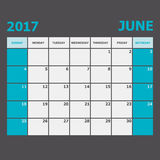 June 2017 calendar week starts on Sunday. Stock vector Royalty Free Stock Image