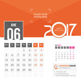 June 2017. Calendar 2017. June 2017. Calendar for 2017 Year. 2 Months on Page. Vector Design. Template with Place for Photo and Company Logo Royalty Free Stock Photos