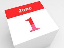 June 1 Children's Day. Calendar symbol on white cube Stock Photography