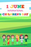 1 June Childrens Day Poster with Kids on Field. 1 June Childrens Day colorful vector poster of group of kids from various countries holding hands and stand on stock illustration