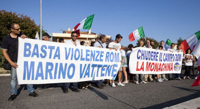 11 June 2015. Citizens protest against the gypsies and Mayor. Rome, Italy. 11 June 2015. Rome, Italy. In the banner - Stop violence of gypsies, Marino (mayor of Stock Images