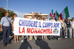 11 June 2015. Citizens protest against the gypsies in Rome, Italy. 11 June 2015. Rome, Italy. In the banner - close the nomads camps -. Protest of the citizens Royalty Free Stock Photo