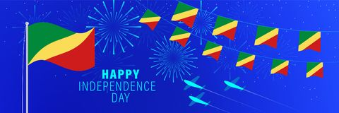 June 30 Congo Independence Day greeting card.  Celebration background with fireworks, flags, flagpole and text. Vector illustration royalty free illustration