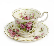 June Cup and Saucer. Cup and Saucer - Month of June - Roses stock photography