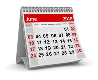 June 2018 - Calendar. June 2018 , This is a 3d rendered computer generated image. Isolated on white Royalty Free Stock Image