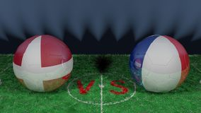 Denmark versus France. 2018 FIFA World Cup.Original 3D image. June 26, Denmark vs France 2018 FIFA World Cup.Original 3D image. Two balloons above a soccer Royalty Free Stock Photos