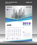 June- Desk Calendar 2019 Template, flyer design vector, Blue purple concept layout vector illustration