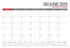 June 2019 desk calendar vector illustration. Simple and clean design stock illustration
