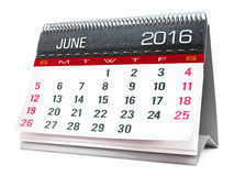 June 2016 desktop calendar. Isolated on white background Stock Photography