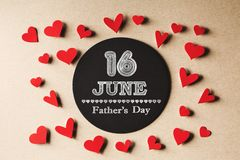 16 June Fathers Day message with small hearts royalty free stock image