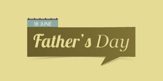 18 June Father's Day banner isolated on yellow background.  Royalty Free Stock Image