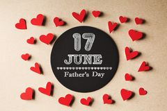 17 June Fathers Day message with small hearts stock images