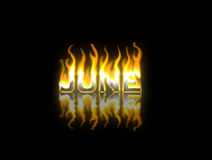 June on Fire. June text on Fire with Reflection Royalty Free Stock Photography