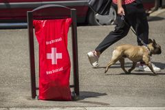 Geneva Switzerland, Hop Suisse for the football world cup. June 16, 2018 : during the football world cup all the bags of public garbage in the city encourages Stock Photography