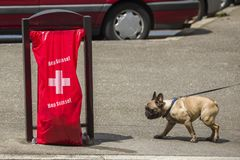Geneva Switzerland, Hop Suisse for the football world cup. June 16, 2018 : during the football world cup all the bags of public garbage in the city encourages Royalty Free Stock Image