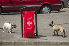 Geneva Switzerland, Hop Suisse for the football world cup. June 16, 2018 : during the football world cup all the bags of public garbage in the city encourages Stock Photos