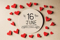 16 June Happy Fathers Day message with small hearts stock image