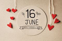 16 June Happy Fathers Day message with small hearts vector illustration