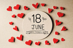 18 June Happy Fathers Day message with small hearts royalty free stock photography