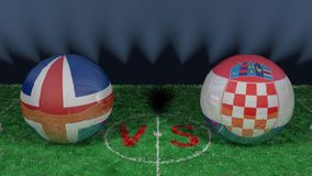 Iceland versus Croatia. 2018 FIFA World Cup.Original 3D image. June 26, Iceland vs Croatia 2018 FIFA World Cup.Original 3D image. Two balloons above a soccer Stock Image