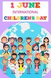 Childrens Day Poster with Kids on Earth Symbol. 1 June international children s day vector poster of many kids holding hands from various countries standing on vector illustration