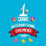 1 june international childrens day background. Happy Children day greeting card. kids day poster Royalty Free Stock Photos