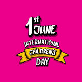 1 june international childrens day background. Happy Children day greeting card. kids day poster Stock Photography