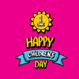 1 june international childrens day background. Happy Children day greeting card. kids day poster Royalty Free Stock Image