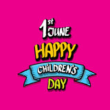 1 june international childrens day background. Happy Children day greeting card. kids day poster Royalty Free Stock Photography