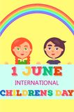 1 June International Day Poster with Two Kids. 1 june international childrens day colorful vector poster with girl and boy behind greeting card and near rainbow stock illustration