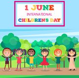 1 June International Childrens Day Poster of Kids. 1 june international childrens day colorful vector illustration with multi nationalities smiling kids holding Royalty Free Stock Photos