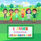 1 June International Childrens Day Poster of Kids. 1 june international childrens day colorful vector poster with group of kids keeping hands and standing on Royalty Free Stock Photos