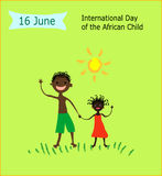 16 June International Day of the African Child. Children`s drawing style vector illustration.African boy and african girl waving their hand in greeting on green Royalty Free Stock Photos