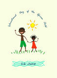 16 June International Day of the African Child. Kid`s drawing style vector illustration on white vertical billboard.African boy and girl stand by grass and wave Royalty Free Stock Photos