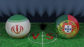 Iran versus Portugal. 2018 FIFA World Cup.Original 3D image. June 25, Iran vs Portugal 2018 FIFA World Cup.Original 3D image. Two balloons above a soccer field Stock Photos