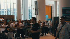June 10, 2019 - Istanbul, Turkey: lot of people meet arriving at the new airport of Istanbul, one of the largest. June 10, 2019 - Istanbul, Turkey: A lot of stock footage
